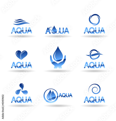 Set of water design elements. Water icon (aqua).