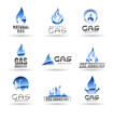 Set of gas energy icons. Natural gas. Gas industry.