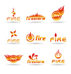 Set of abstract fire icons.