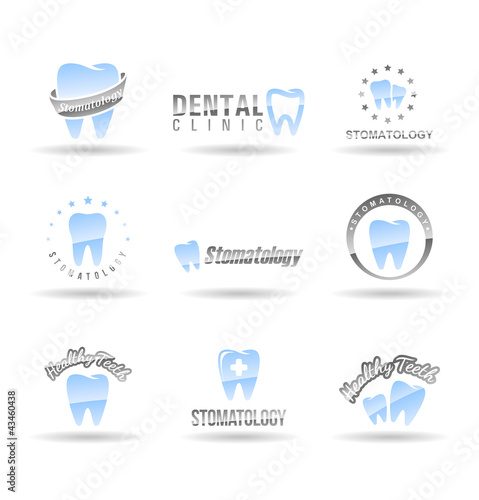 Set of dental icons. Stomatology. Set 1.