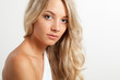 beautiful blonde woman face portrait