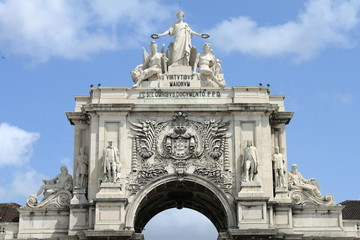 Triumphal arch at Praca do Comercio in Lisbon, Portugal