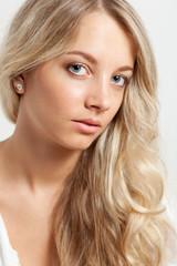 blonde woman  closeup face portrait