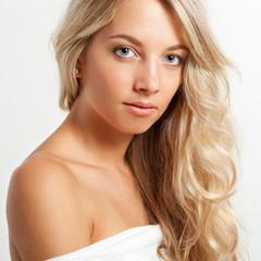 beautiful blonde woman face portrait