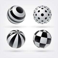 Set of decorative spheres for graphic design, change colors