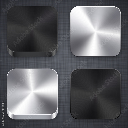 Square metallic app template icons.
