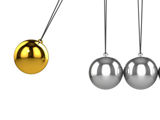 3d Newtons cradle gold ball close up