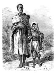 Arabian blind Beggar & Child