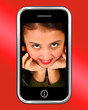 Happy Smiling Teenage Asian Girl On Smartphone