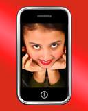 Happy Smiling Teenage Asian Girl On Smartphone