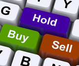 Buy Hold And Sell Keys Represent Market Strategy