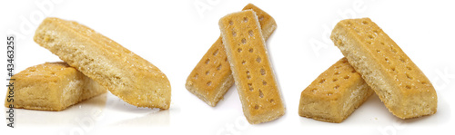 Set of shortbread fingers on white background.