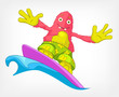 Funny Monster. Surfing.