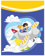 Flying kids vector illustration