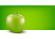 Green apple in front of green background
