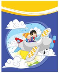 Flying kids vector illustration