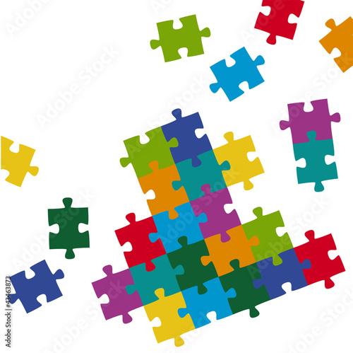 Puzzleteile Hintergrund farbig