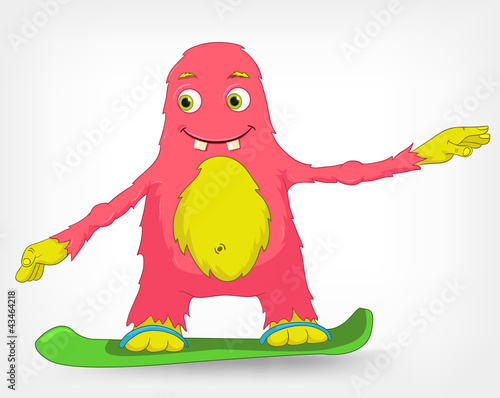 Funny Monster. Snowboarding.