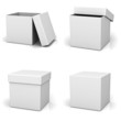 Collection of blank box on white background