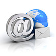 Email concept, Metal at sign, blue globe and white envelope