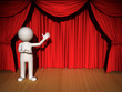 3d man presenting your product over red curtain background