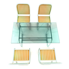 glass table with four steel tube chairs from top view