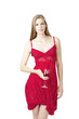 Model holding red rose wineglass