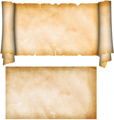Scroll of parchment and sheet of old grunge paper.