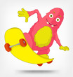 Funny Monster. Skateboarding.