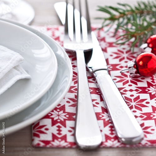 Knife and fork on christmas table