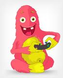 Funny Monster. Gamer. poster