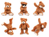 Teddy bears in different poses on white background