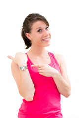 young woman looking at her watch