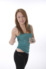 Insulin pump on a young girl