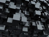 Black glossy cubes abstract background. - 43469665