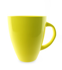 Traditional yellow tea cup isolated on white.