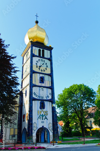 The church tower with a clock