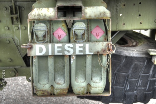 Jerry cans. Cans with diesel.