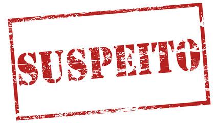 """Carimbo desgastado - palavra """"suspeito"""""""