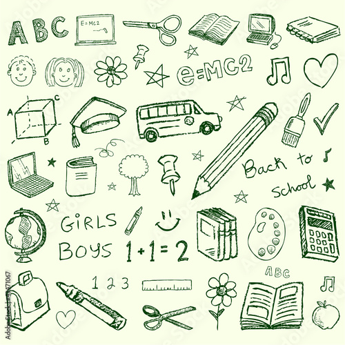Back to school doodles set
