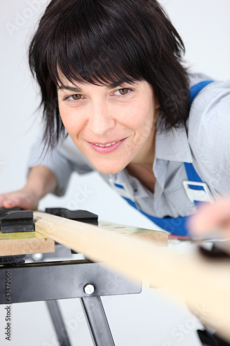 Woman using workbench