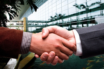 handshake at business center