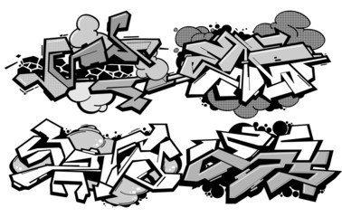 Set of 4 graffiti compositions