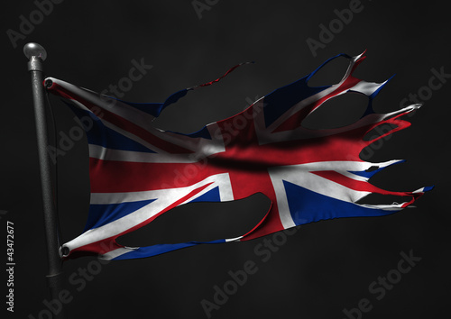 tattered union jack flag england great britain