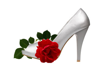 Silver women's heel shoes with red rose with clipping path.
