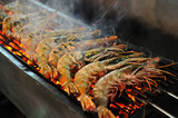 Tiger Prawn Barbecue at the night market in Hua Hin, Thailand