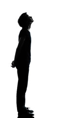 one young teenager boy or girl silhouette