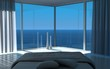Modern bedroom with sea view