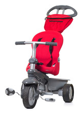 Child's red tricycle.