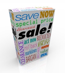 Sale Product Box Words Discount Save Money Package
